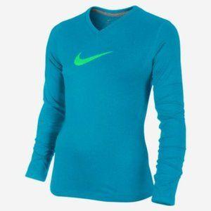 Nike Dri Fit Long Sleeve Shirt Blue Green Girls XL